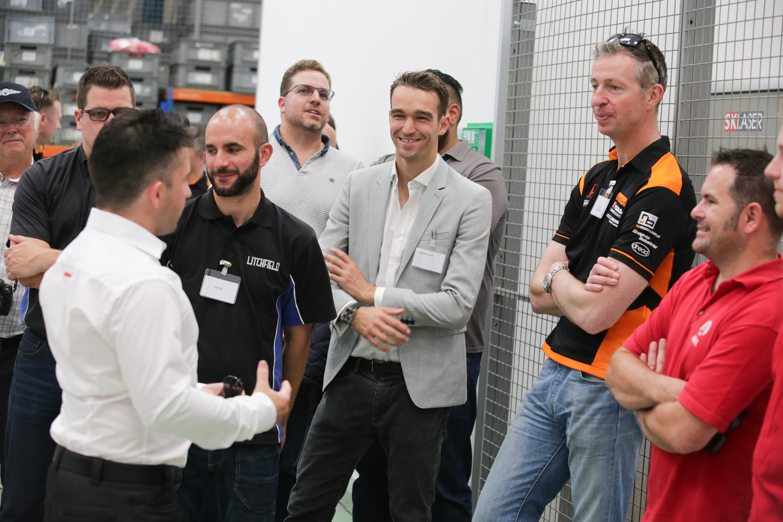Harry Tincknell & Matt Neal Enjoy a tour of the factory