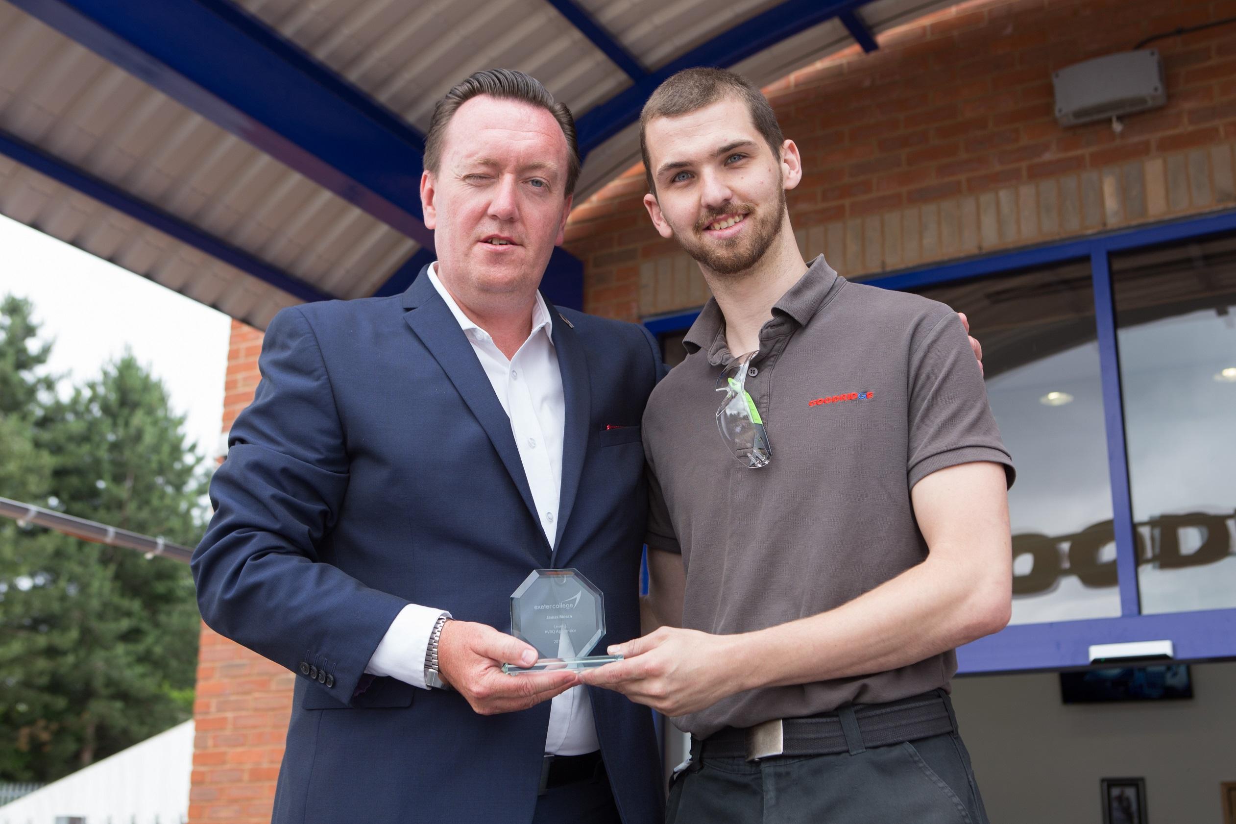 Junior Engineer James Moran presented Exeter College Award